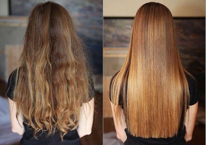 Кератиновое выпрямление волос фото до и после фото